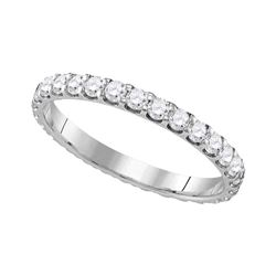 1 CTW Diamond Eternity Bridal Anniversary Ring 10KT White Gold - REF-87X2Y