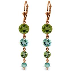 Genuine 7.8 ctw Blue Topaz & Peridot Earrings Jewelry 14KT Rose Gold - REF-46H3X