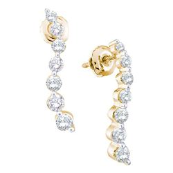 1 CTW Diamond Graduated Journey Screwback Earrings 14KT Yellow Gold - REF-89X9Y