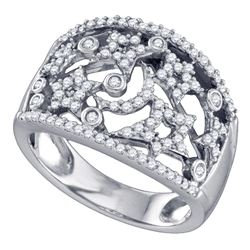 0.53 CTW Diamond Wide Star Pave-set Cocktail Ring 14K White Gold - REF-57Y2X