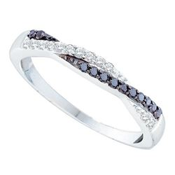 0.25 CTW Black Color Diamond Crossover Ring 10KT White Gold - REF-19F4N
