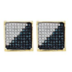 0.22 CTW Mens Blue Color Diamond Square Cluster Earrings 10KT Yellow Gold - REF-13K4W