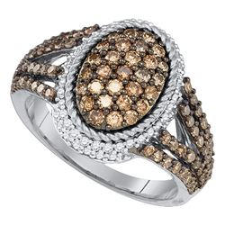 1.2 CTW Cognac-brown Color Diamond Oval Cluster Roped Ring 10KT White Gold - REF-67X4Y