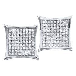 0.33 CTW Diamond Square Kite Cluster Earrings 10KT White Gold - REF-14K9W
