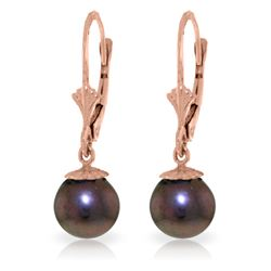Genuine 4 ctw Black Pearl Earrings Jewelry 14KT Rose Gold - REF-20H7X