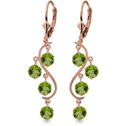 Genuine 4.95 ctw Peridot Earrings Jewelry 14KT Rose Gold - REF-53N8R