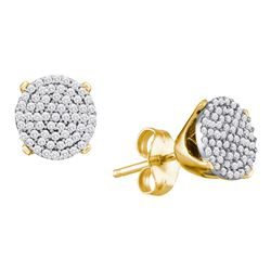0.33 CTW Diamond Circle Cluster Stud Earrings 10KT Yellow Gold - REF-26M3H