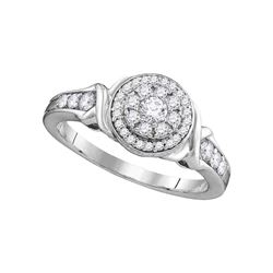0.49 CTW Diamond Solitaire Halo Bridal Engagement Ring 10KT White Gold - REF-52W4K