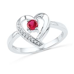0.28 CTW Created Ruby Heart Love Ring 10KT White Gold - REF-14K9W