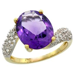 Natural 6.45 ctw amethyst & Diamond Engagement Ring 14K Yellow Gold - REF-54H3W
