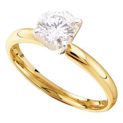0.90 CTW Diamond Solitaire Bridal Engagement Ring 14KT Yellow Gold - REF-224F9N