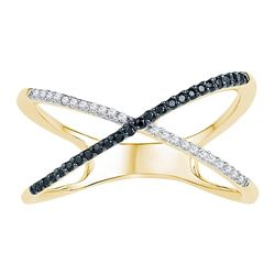 0.16 CTW Black Color Diamond Crossover Ring 10KT Yellow Gold - REF-18H2M