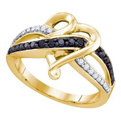 0.35 CTW Black Color Diamond Heart Ring 10KT Yellow Gold - REF-30H2M