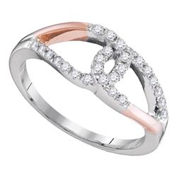 0.27 CTW Diamond Loop Lasso Knot Ring 10KT Two-tone Gold - REF-24N2F