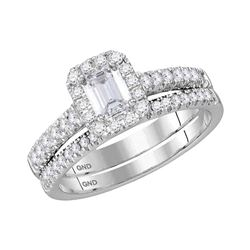 1.03 CTW Emerald Diamond Bridal Wedding Engagement Ring 14KT White Gold - REF-202W3K