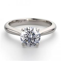14K White Gold Jewelry 1.36 ctw Natural Diamond Solitaire Ring - REF#403G2K-WJ13214