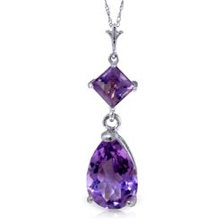 Genuine 2 ctw Amethyst Necklace Jewelry 14KT White Gold - REF-24H3X