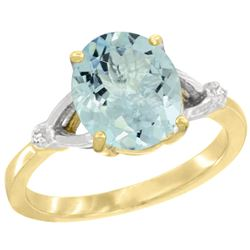 Natural 2.11 ctw Aquamarine & Diamond Engagement Ring 10K Yellow Gold - REF-34R7Z