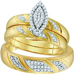 0.25 CTW Diamond His & Hers Matching Trio Engagement Bridal Ring 10KT Yellow Gold - REF-37X5Y