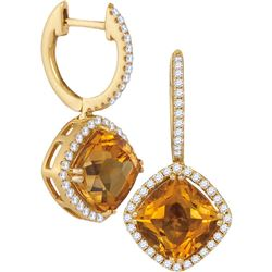 5.33 CTW Cushion Natural Citrine Diamond Dangle Earrings 14KT Yellow Gold - REF-112W5K