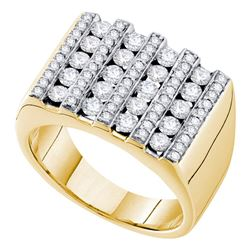 1.5 CTW Mens Channel-set Diamond Square Cluster Ring 14KT Yellow Gold - REF-194F9N