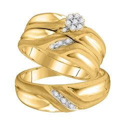 0.18 CTW His & Hers Diamond Cluster Matching Bridal Ring 10KT Yellow Gold - REF-41M9H