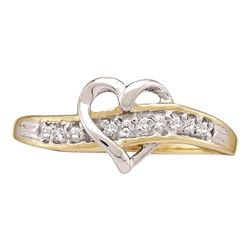 0.05 CTW Diamond Heart Love Ring 10KT Yellow Gold - REF-8F9N