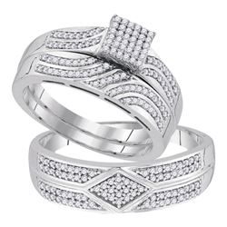 0.33 CTW His & Hers Diamond Matching Bridal Ring 10KT White Gold - REF-64W4K