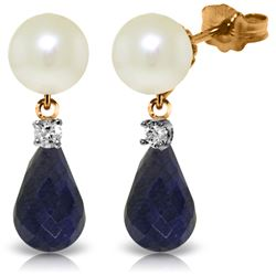 Genuine 8.7 ctw Pearl, Sapphire & Diamond Earrings Jewelry 14KT Rose Gold - REF-27R6P