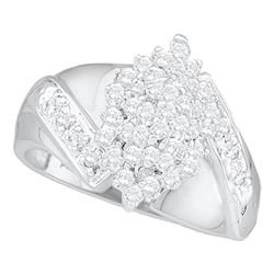0.50 CTW Diamond Cluster Ring 14KT White Gold - REF-41K9W