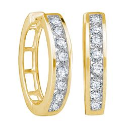 1 CTW Diamond Hoop Earrings 10KT Yellow Gold - REF-82H4M
