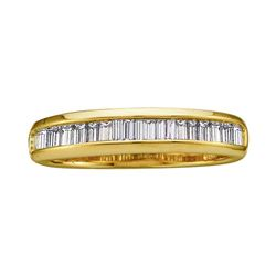 0.50 CTW Diamond Wedding Anniversary Ring 14KT Yellow Gold - REF-28H4M