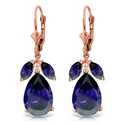 Genuine 10.30 ctw Sapphire Earrings Jewelry 14KT Rose Gold - REF-95P5H