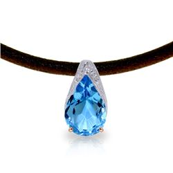 Genuine 6 ctw Blue Topaz Necklace Jewelry 14KT Rose Gold - REF-30Z5N