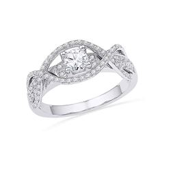 0.50 CTW Diamond Woven Bridal Engagment Anniversary Ring 14k White Gold - REF-64X4Y
