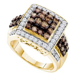 1.5 CTW Cognac-brown Color Diamond Square Cluster Ring 10KT Yellow Gold - REF-82X4Y