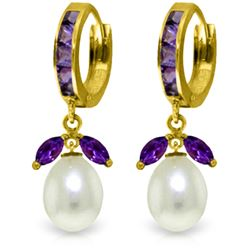 Genuine 10.30 ctw Amethyst & Pearl Earrings Jewelry 14KT Yellow Gold - REF-56M7T