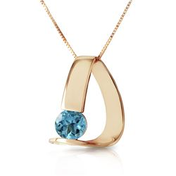 Genuine 1 ctw Blue Topaz Necklace Jewelry 14KT Yellow Gold - REF-50F5Z