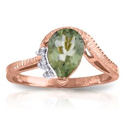 Genuine 1.52 ctw Green Amethyst & Diamond Ring Jewelry 14KT Rose Gold - REF-51H4X