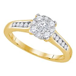 0.49 CTW Princess Diamond Cluster Bridal Engagement Ring 14KT Yellow Gold - REF-59X9Y