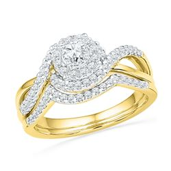0.63 CTW Diamond Bridal Wedding Engagement Ring 10KT Yellow Gold - REF-71N9F