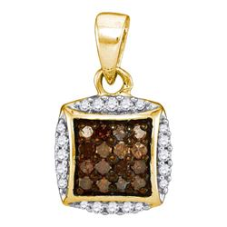 0.25 CTW Cognac-brown Color Diamond Square Cluster Pendant 10KT Yellow Gold - REF-11W2K