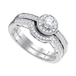 0.50 CTW Diamond Bridal Wedding Engagement Ring 10KT White Gold - REF-52F4N