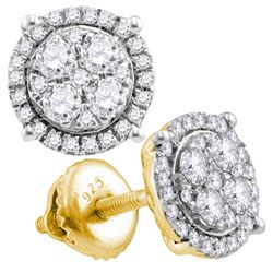 0.25 CTW Diamond Cluster Earrings 10KT Yellow Gold - REF-22N4F