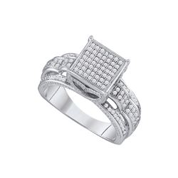 0.40 CTW Diamond Square Cluster Bridal Engagement Ring 10KT White Gold - REF-44Y9X