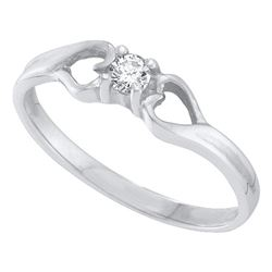 0.10 CTW Diamond Solitaire Heart Promise Bridal Ring 10KT White Gold - REF-13W4K