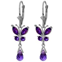 Genuine 2.74 ctw Amethyst Earrings Jewelry 14KT White Gold - REF-42Z6N