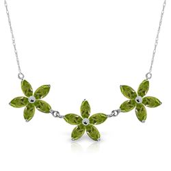 Genuine 4.2 ctw Peridot Necklace Jewelry 14KT White Gold - REF-60X7M