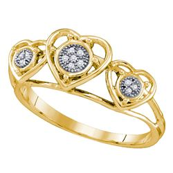 0.03 CTW Diamond Heart Love Ring 10KT Yellow Gold - REF-10K5W