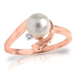Genuine 1.01 ctw Pearl & Diamond Ring Jewelry 14KT Rose Gold - REF-38P2H